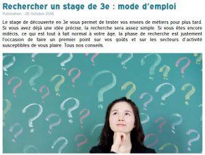 Rechercher un stage de 3e : mode d'emploi / Sur le site de l'Onisep - Cliquez ici -